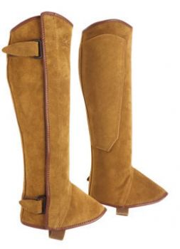 Classic suede leather half chaps, or polainas, with side velcro fastening